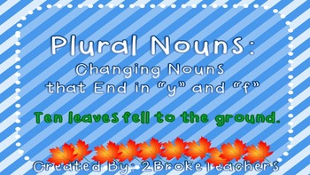 """Plural Nouns Rules for """"F"""" and """"V""""  Mini-Lesson PowerPoint"""
