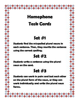 Plural Nouns-Task Cards