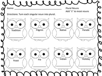 Plural Nouns with Owls