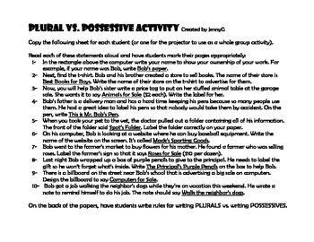 BAD WORDS Plurals vs Possessives Activity by JennyG