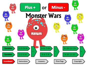 Plus or Minus Monster Wars: a quiz game for practicing fou