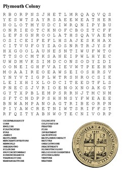 Plymouth Colony Word Search