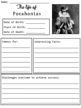 Pocahontas Graphic Organizers