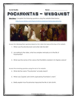 Pocahontas - Webquest with Key (History.com)