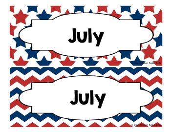 Calendar - Pocket Chart Calendar July