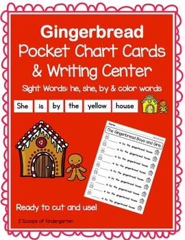 Pocket Chart Sight Word  Writing Center ~ Gingerbread ~ he she