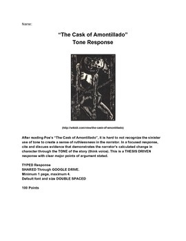 "Poe ""Cask of Amontillado"" Tone Response Writing Assignment"