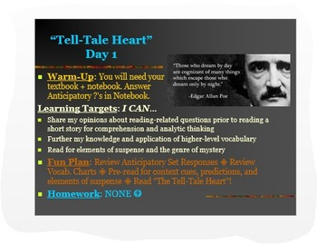 "Poe ""Tell-Tale Heart"" ELA Common Core PPT: Lesson Plans fo"