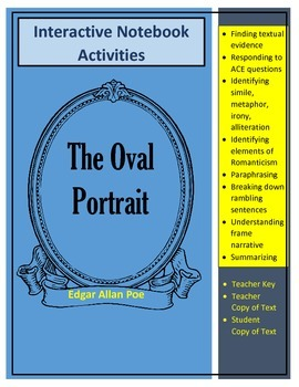 """Poe's """"The Oval"""" Portrait Text and Interactive Notebook Ac"""