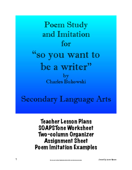 """Poem Study and Imitation - """"So You Want to Be a/an . . . """""""