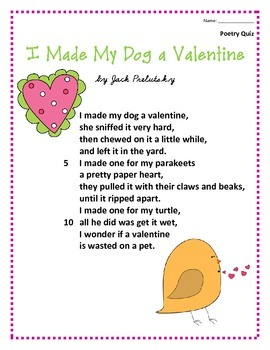 Valentine's Day: Poem and Quiz- I Made My Dog a Valentine