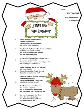 Poem and Quiz- Santa and the Reindeer