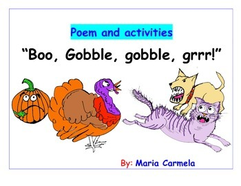 """Poetry and reading activities """"Boo, Gobble, Gobble, Grrr!"""""""