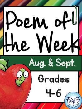 Poem of the Week: Aug. and Sept. - Poem Comprehension for