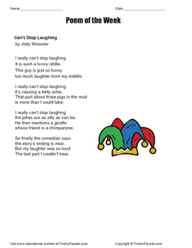Poem of the Week Can't Stop Laughing by Jody Weissler  wit