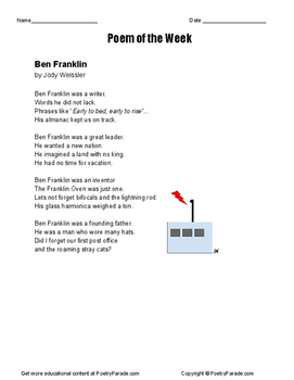 Ben Franklin Poem of the Week. NO PREP activity with Quest