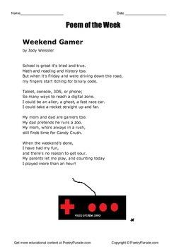 Poem of the Week called Weekend Gamer Video Game Poetry by
