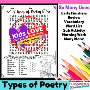 Poetry Activity: Poetry Word Search: Poetry Vocabulary