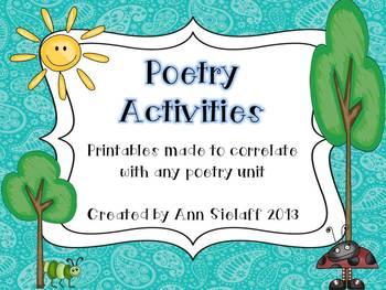 Poetry Activities Freebie