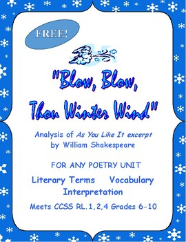 """Shakespeare Poem for Any Unit or for As You Like It """"Blow"""