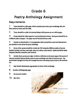 Poetry Anthology & Rubric