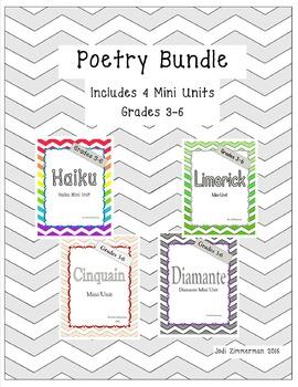 Haiku, Limerick, Cinquain and Diamante Poetry Bundle