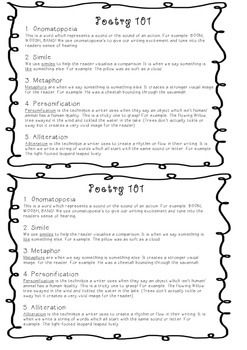 Poetry Printable - Toolbox and revision tool