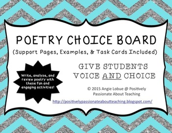 Poetry Choice Board/Menu (Support Activities & Task Cards