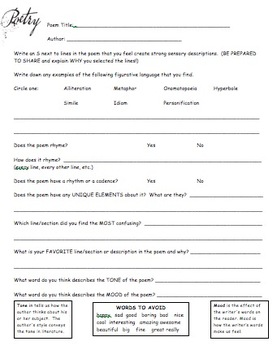 Poetry Evaluation Form - Generic