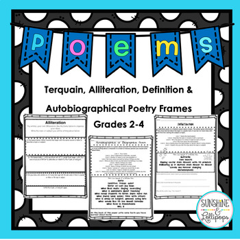 Poetry Writing Frames for Terquain,Alliteration,Definition