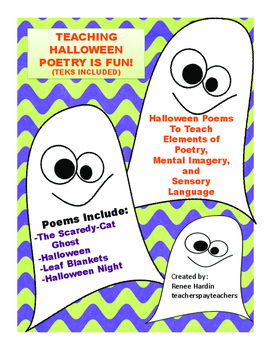 Poetry:  Halloween Poems for teaching elements of poetry (