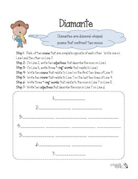 Poetry - How to write a Diamante poem
