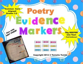 (Poetry) Interactive Close Reading Evidence Markers CCSS (