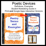 Poetry Notebooks Terms and Examples, Student guide and Goo