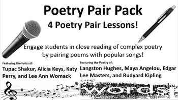 Poetry Pair Pack:  Lessons based on 4 popular songs paired