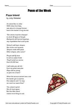 Poetry -Poem of the Week called Pizza Island by Jody Weissler