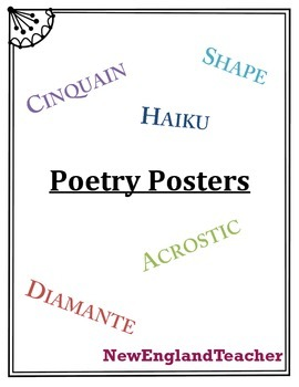 Poetry Poster Pack: Diamante, Haiku, Cinquain, Acrostic, a