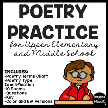 Poetry Practice for Upper Elementary, Middle School, chart