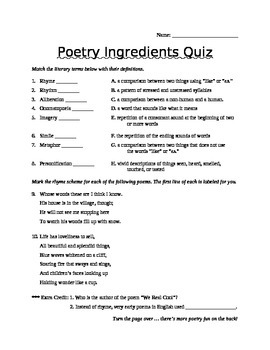 Poetry Quiz Assessment Study Sheet