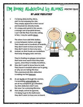 Poetry Quiz- I'm Being Abducted by Aliens