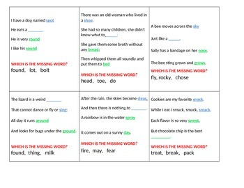 Poetry Rhyme AABB and ABAB - KAGAN Quiz Quiz Trade Cards