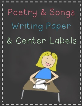 Poetry & Songs Writing Paper and Center Labels