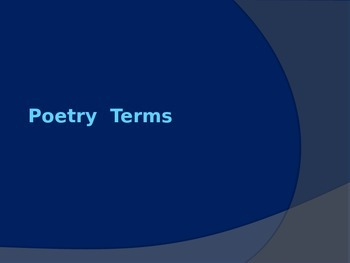 Poetry Terms Presentation (Teacher Tool)