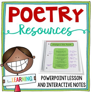 Poetry Unit {Lesson, Interactive Notebook, Worksheet, Quiz}