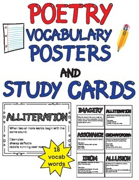 Poetry Word Wall Vocabulary (18 posters and study cards) G