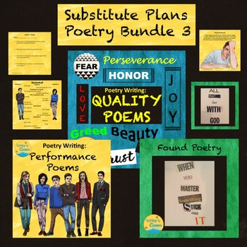Substitute Plans Poetry Writing Bundle 3, Creative Writing