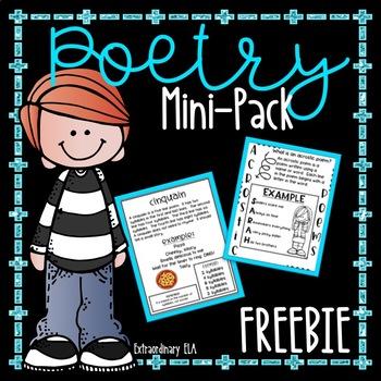"Poetry Writing Mini-Pack (Acrostic, ""I Am"" Poem, Cinquain)"