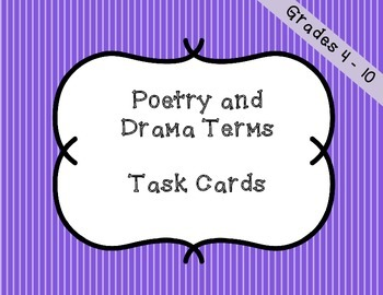 Poetry and Drama Literary Terms - Task Cards