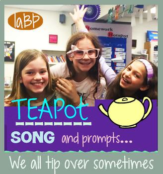 Nursery rhyme inspired lyrics, teapot recording, writing prompts