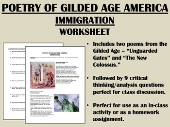 Poetry of Gilded Age America - Immigration - US History/APUSH